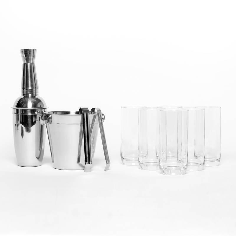 FERRAND - Set x 6 Vasos Long + Set Cocktail Acero Inoxidable