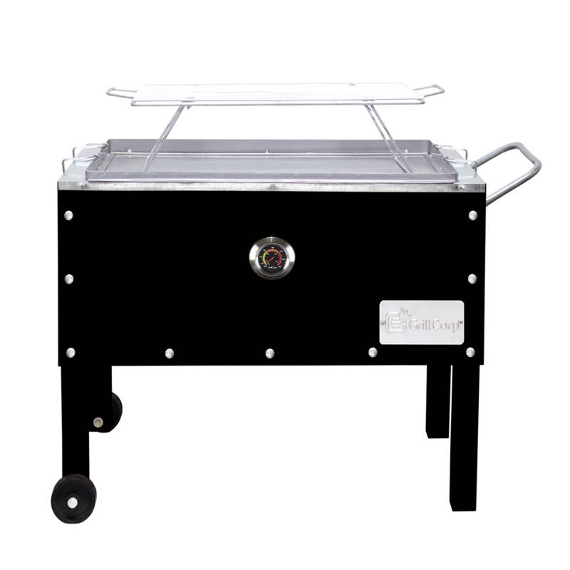 GRILLCORP - Caja China Mediana  Black con Termómetro + Parrilla Varillas