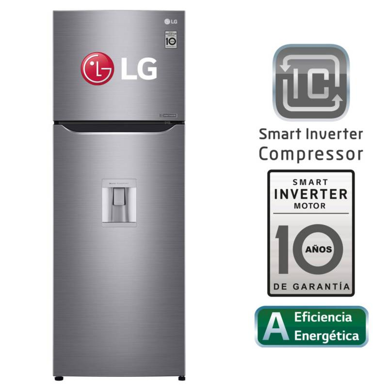 LG - Refrigeradora LG Top Mount con Door Cooling 312 LT GT32WPPDC Plateada