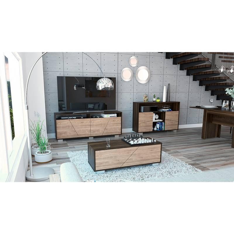 TuHome - Mesa de TV 70' + Aparador + Mesa de Centro Fraktal