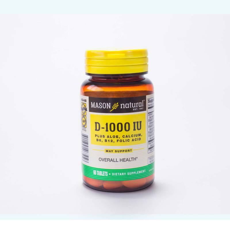 Mason Natural - Vitamina D 1000 Plus Aloe Calcium B6 B12 Acido Folico