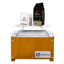 GRILLCORP - Caja China Mini Caoba + Parrilla de Varillas + Carbón + Pack Sal