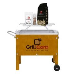 GRILLCORP - Caja China Chica + Parrilla de Varillas + Carbón + Pack Sal