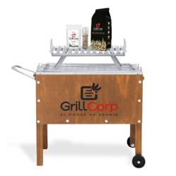 GRILLCORP - Caja China Mediana Jr + Parrilla de V Fija + Carbón + Pack Sal