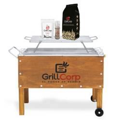 GRILLCORP - Caja China Mediana  + Parrilla de Varillas + Carbón + Pack Sal