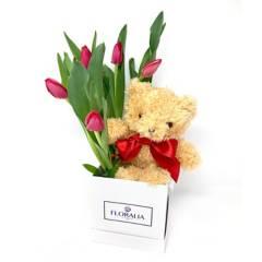 FLORALIA - Caja de Tulipanes + Peluche
