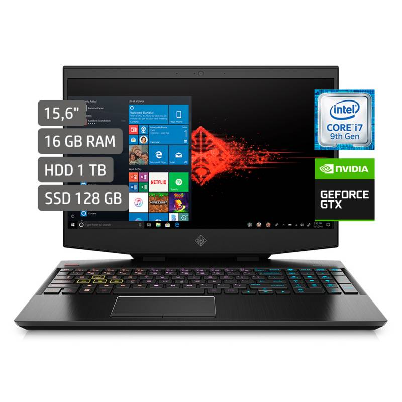 "HP - Laptop Gamer Omen 15.6"" Core i7 9vna Gen 16GB RAM 1TB + 128GB SSD + 6GB Video Nvidia GTX 1660ti - Full HD"