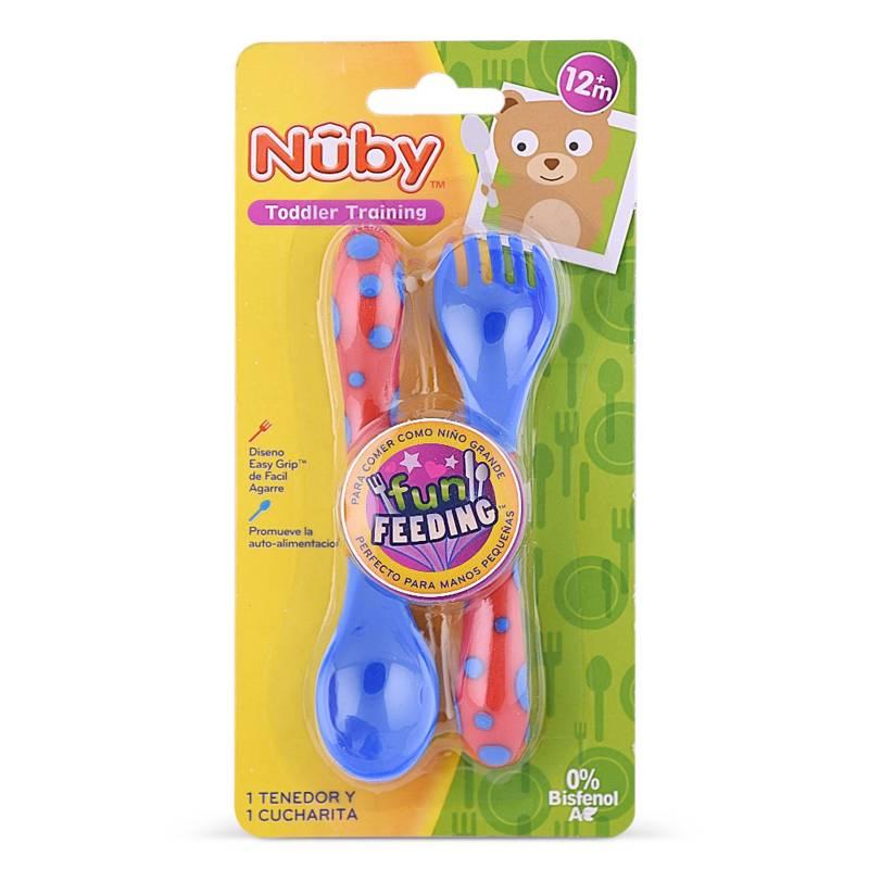 NUBY - Tenedor y Cuchara Azul