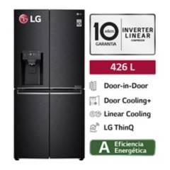 LG - Refrigeradora LG French Door con Puerta Mágica 426 LT LM57SDT Negra Mate