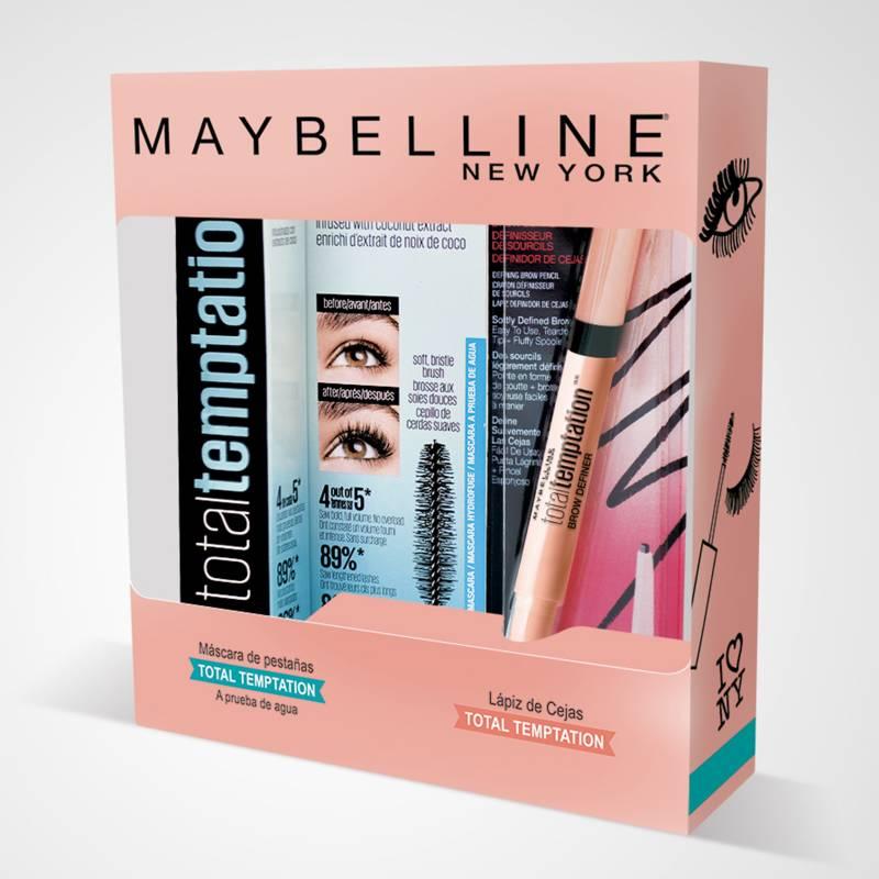 MAYBELLINE - Pack Total Temptation Máscara de Pestañas + Delineador de Cejas Maybelline