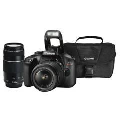 CANON - Combo 49 (Camara Canon T100 Con Lente 18-55mm  + Lente Ef 75-300mm + Maletín)