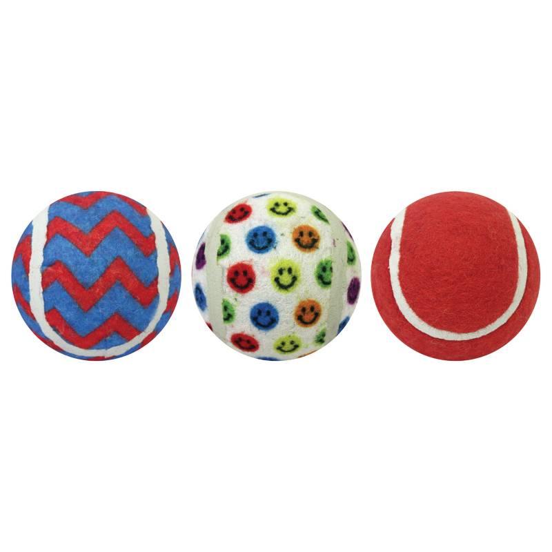MULTIPET® - Juguete Pelotas Tenis Pack 7.6 cm x 3 - Smiley