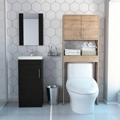 TuHome - Mueble de Lavamanos Madrid + Mueble de Baño Barcelona + Botiquin con Espejo Madrid