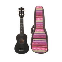 EPIC - Ukelele Colores Negro + Funda Rosada