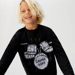 MANGO KIDS - Camiseta Manga Larga Drums Algodón Niño