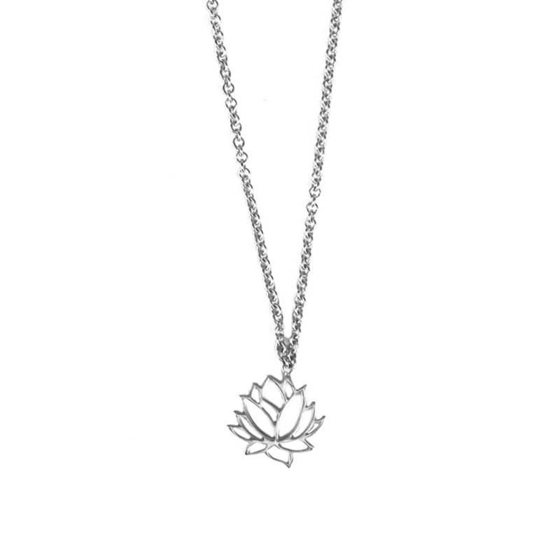 Maisha - Collar Líneas Flor De Loto Plata 376