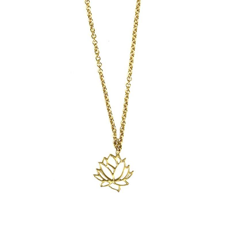 Maisha - Collar Lineas Flor De Loto Dorado  393