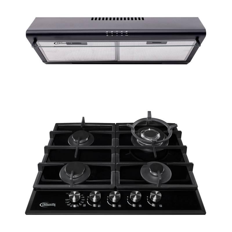 KLIMATIC - Cocina empotrable de 4 hornillas AOSTA 60 PRO + Campana extractora CK601NE/M