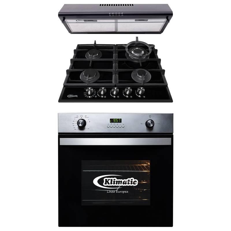 KLIMATIC - Cocina empotrable de 4 hornillas AOSTA 60 PRO + Campana extractora CK601NE/M + Horno empotrable a gas KO60-GC