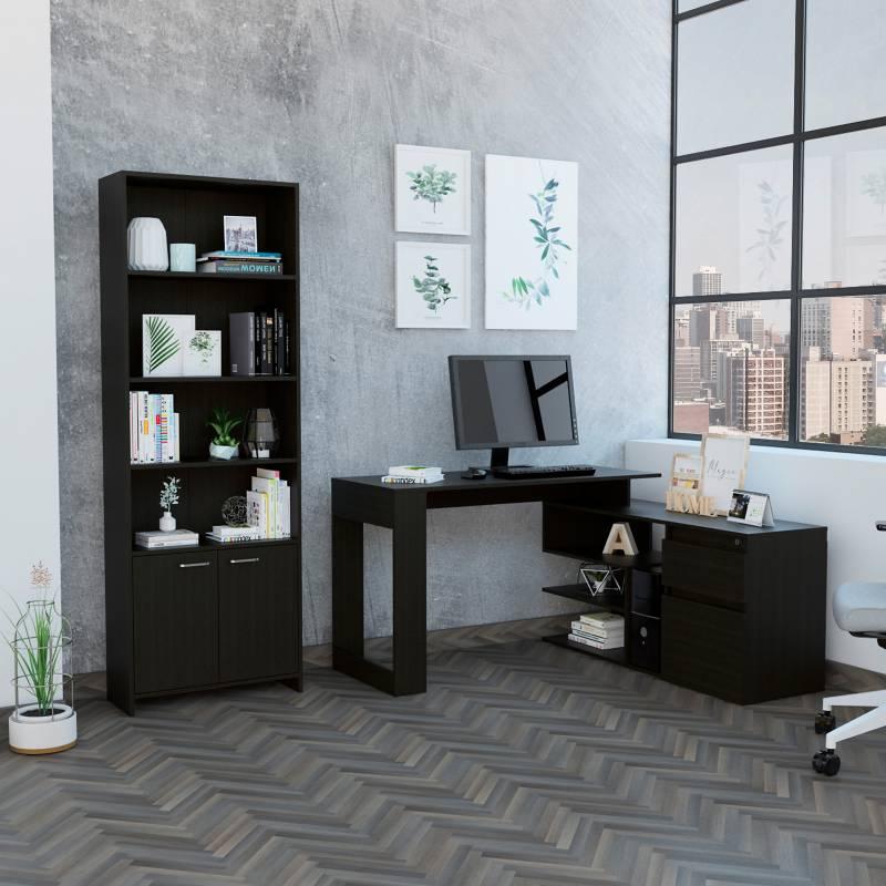 TuHome - Combo Office 21 Escritorio + Biblioteca - Wengue