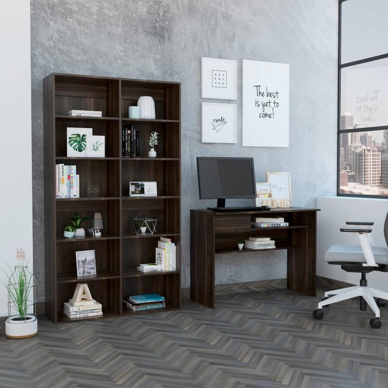 TuHome - Combo Office 30 Escritorio + Biblioteca - Habano