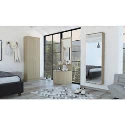 TuHome - Combo Dreams 12 Closet + Zapatero + Velador Multifuncional - Rovere / Blanco