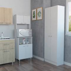 TuHome - Combo Kitchen 5 Mueble Microondas + Optimizador - Blanco