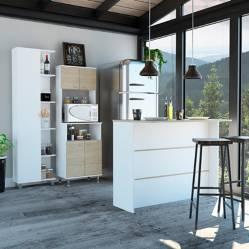 TuHome - Combo Kitchen 35 Mueble Cocina 54 + Barra De Cocina + Optimizador - Rovere / Blanco