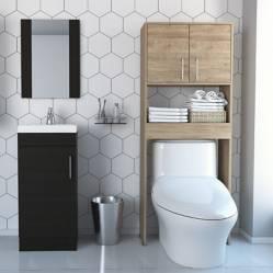 TuHome - Combo My Bath Botiquín + Mueble Lavamanos + Muro + Optimizador - Miel / Wengue