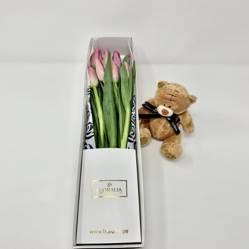 FLORALIA - Caja 8 tulipanes rosados + peluche