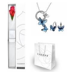 CHARME - Caja 3 rosas y Set Mariposa