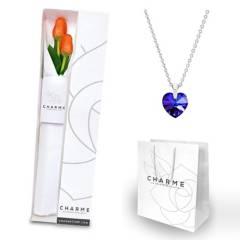 CHARME - Caja 2 tulipanes con collar corazón
