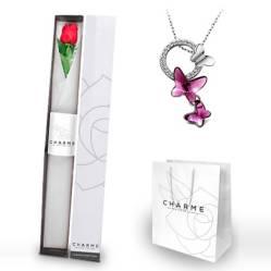 CHARME - Caja 1 rosa y Collar Mariposa