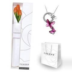 CHARME - Caja 3 tulipanes y Collar Mariposa