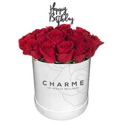 CHARME - Sombrerera de 25 rosas con texto