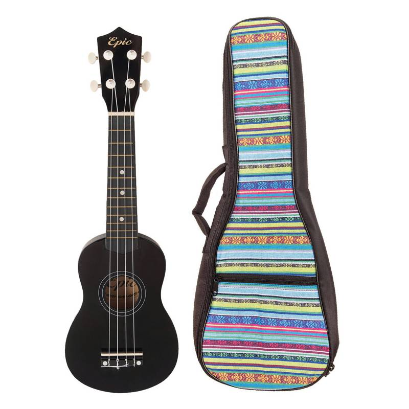 EPIC -  Ukelele Colores Negro + Funda Cel