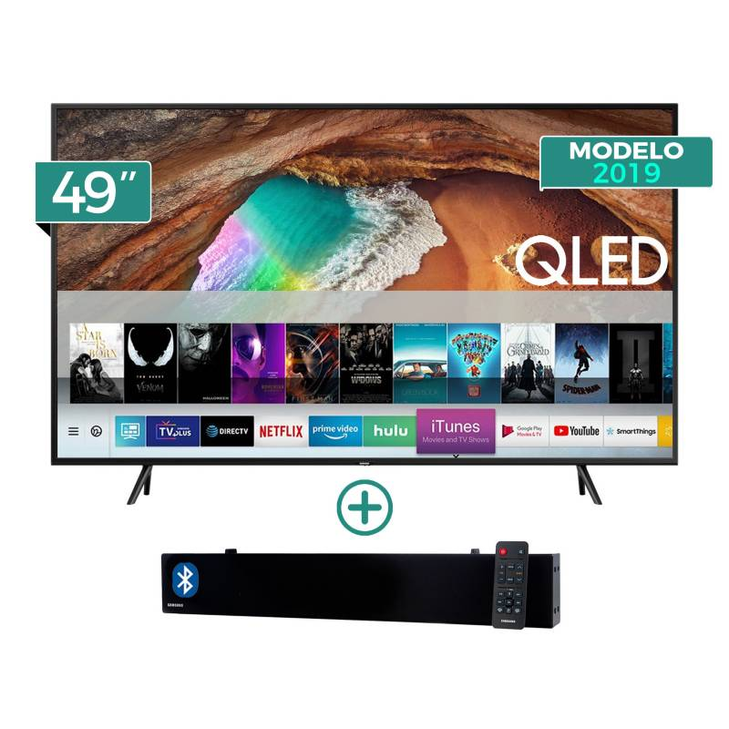 "SAMSUNG - Televisor QLED Smart TV 4K UHD 49"" QN49Q60RAGX/PE + Sound Bar HW-N300"