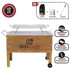 GRILLCORP - Caja China Mediana Premium + Parrilla de Varillas + Carbón + Pack Sal + Atizador