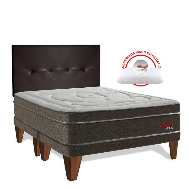 FORLI - Dormitorio Europeo Pocket Visco King + 2 Almohadas Viscoelásticas + Protector