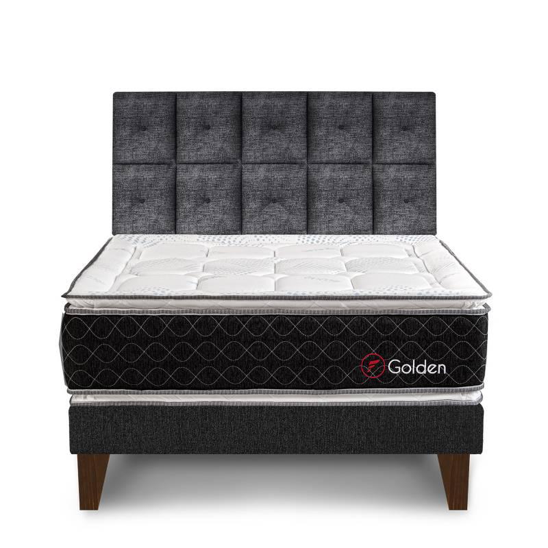 FORLI - Dormitorio Europeo Golden Queen + 2 Almohadas Viscoelásticas + Protector