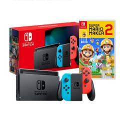 NINTENDO - Consola Nintendo Switch Neon + Mario Maker 2