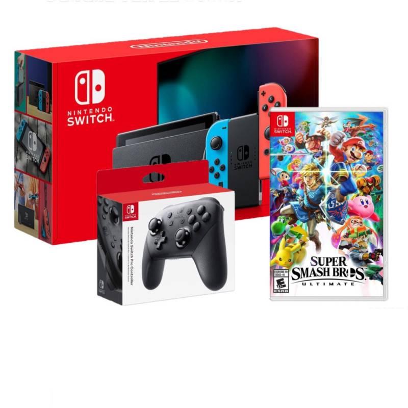 NINTENDO - Consola Nintendo Switch Neon 2019 32GB + mando + Super Smash Bros