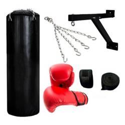 Sport Fitness - Set saco de box lleno 1.20m + Accesorios