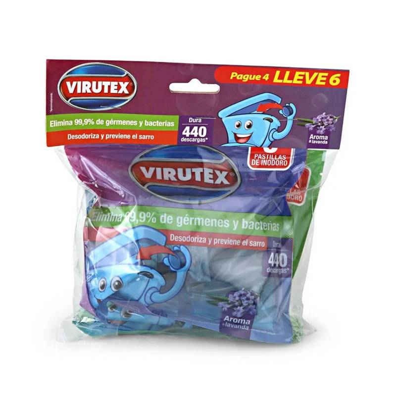 VIRUTEX - Set x6 Pastillas para Baño Pino Lavanda