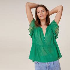 MANGO - Blusa de Algodón Sostenible Mujer
