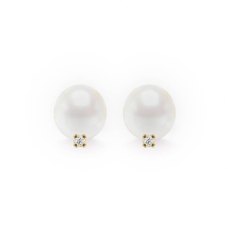 Aldo&Co - Aretes en oro amarillo 18K con perla de 7 - 7.5mm con 2 brillantes de 0.03 carats