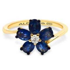 Aldo&Co - Anillo Flor en oro amarillo 18K zafiros 0.90 carats y brillantes