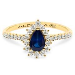 Aldo&Co - Anillo de Gota en oro amarillo 18K zafiro 0.50 carats y brillantes 0.25 carats