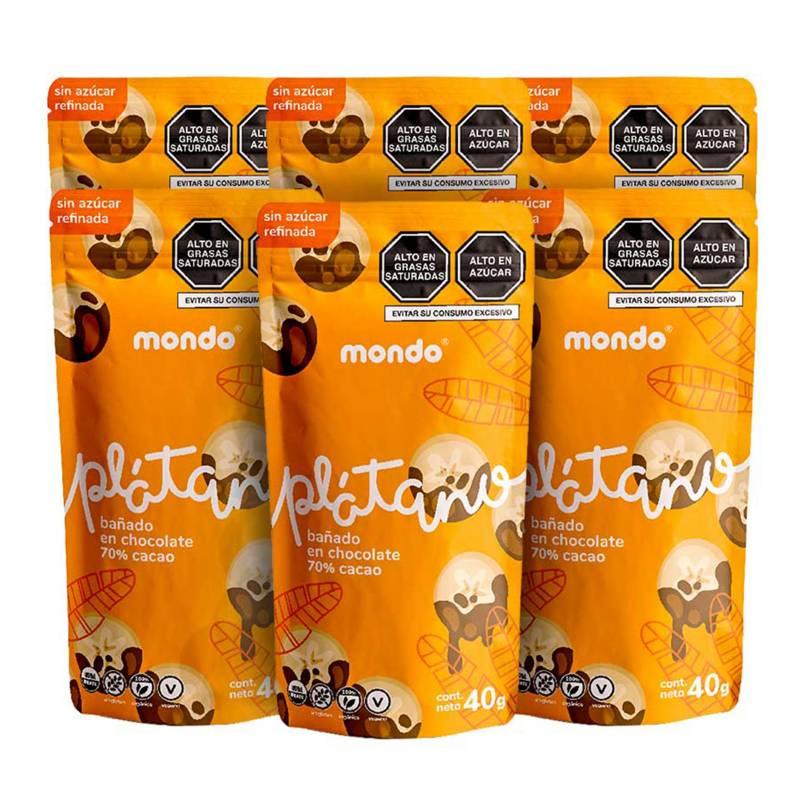 MONDO - Pack Platano con chocolate 70% 40g MONDO