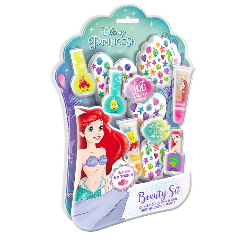 GELATTI - Set de Maquillaje Grande Princesas Ariel Esmalte+Gloss